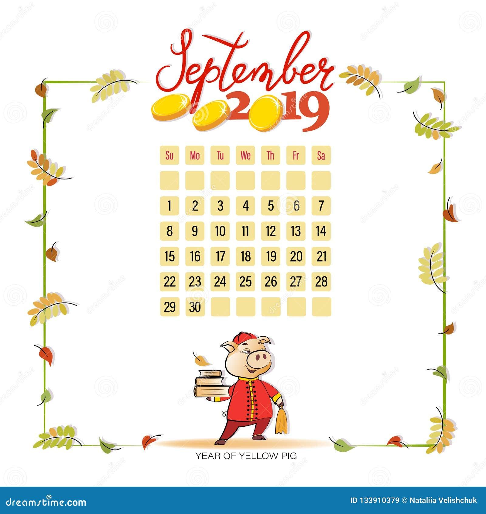 Calendar 2019 For September Stock Vector Illustration