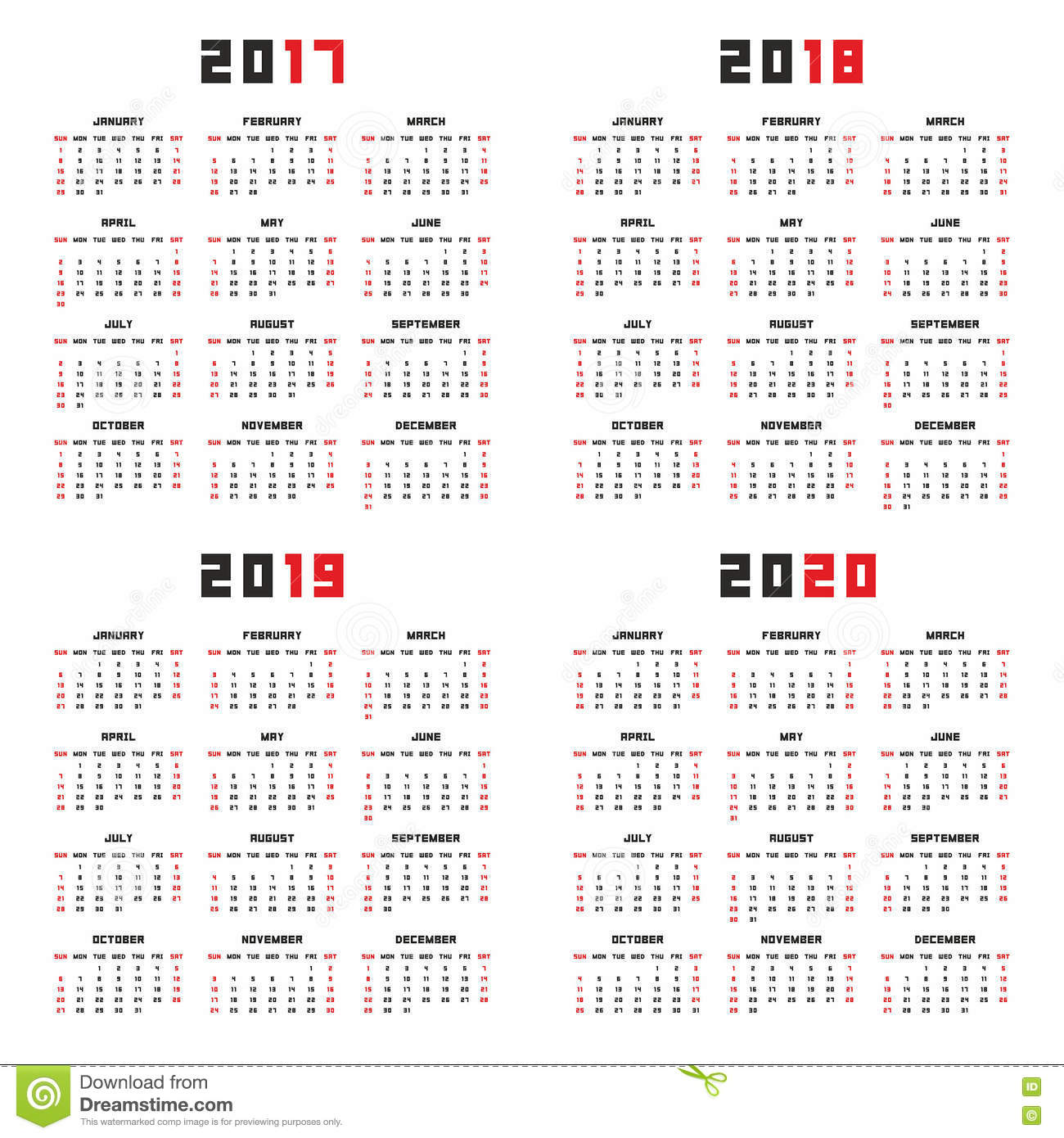 Calendario Contest Hf 2020.Calendar For 2017 2018 2019 2020 Stock Vector