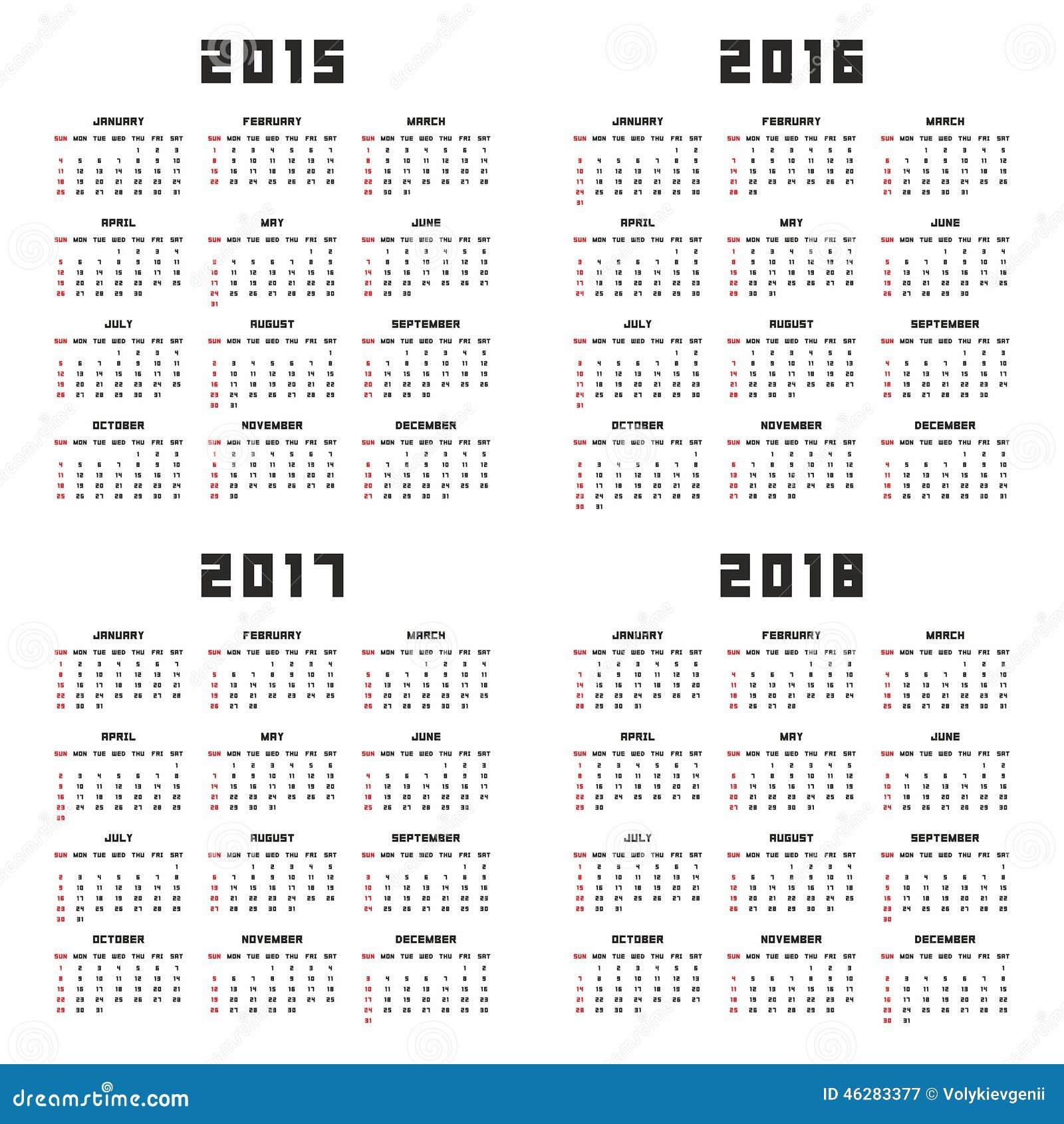 Multi Year Calendar 2016 2017 2018 2019 | Calendar Template 2016