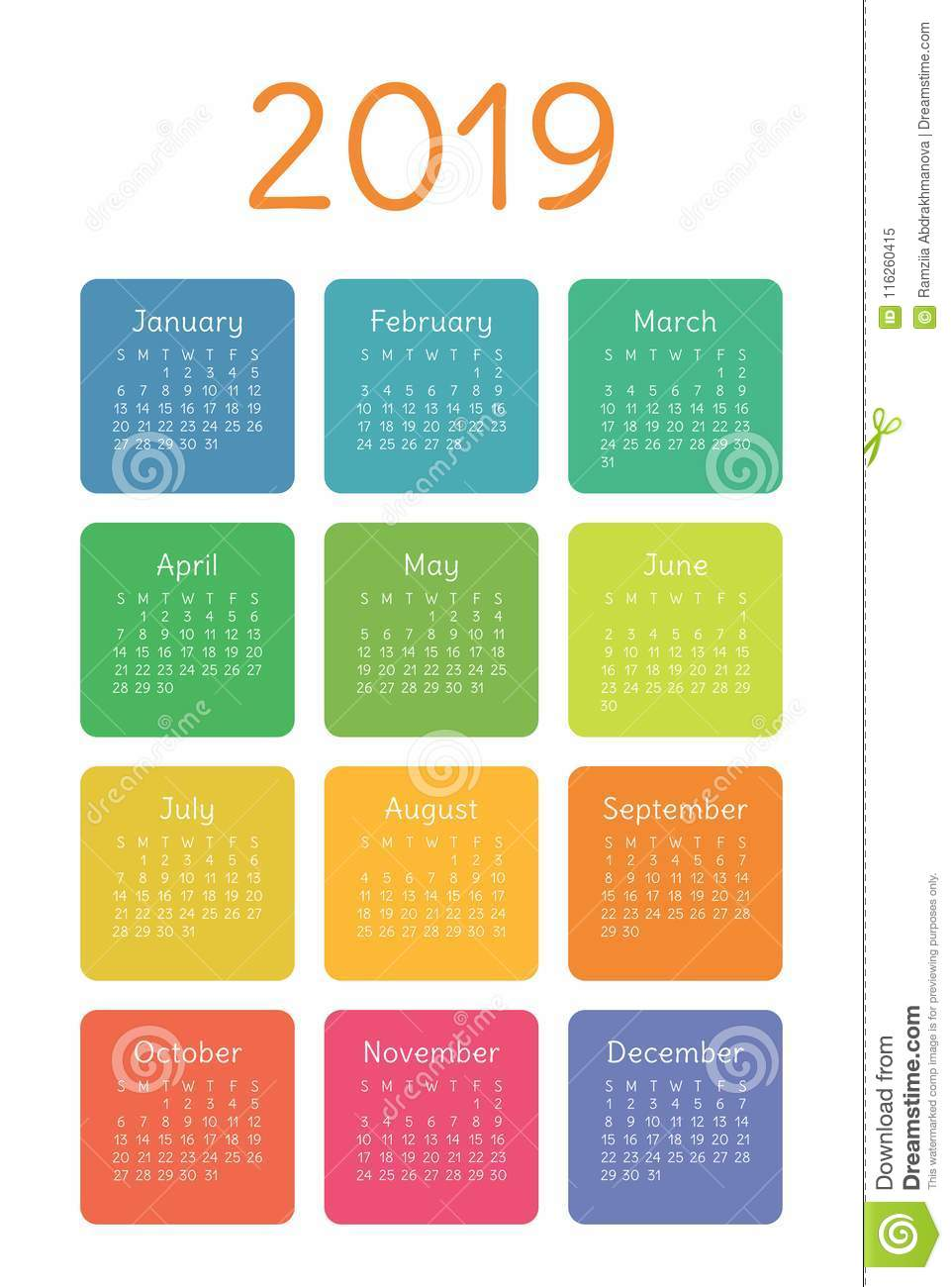 download 2019 2020 2021 calendar set pocket week starts on sunday stock