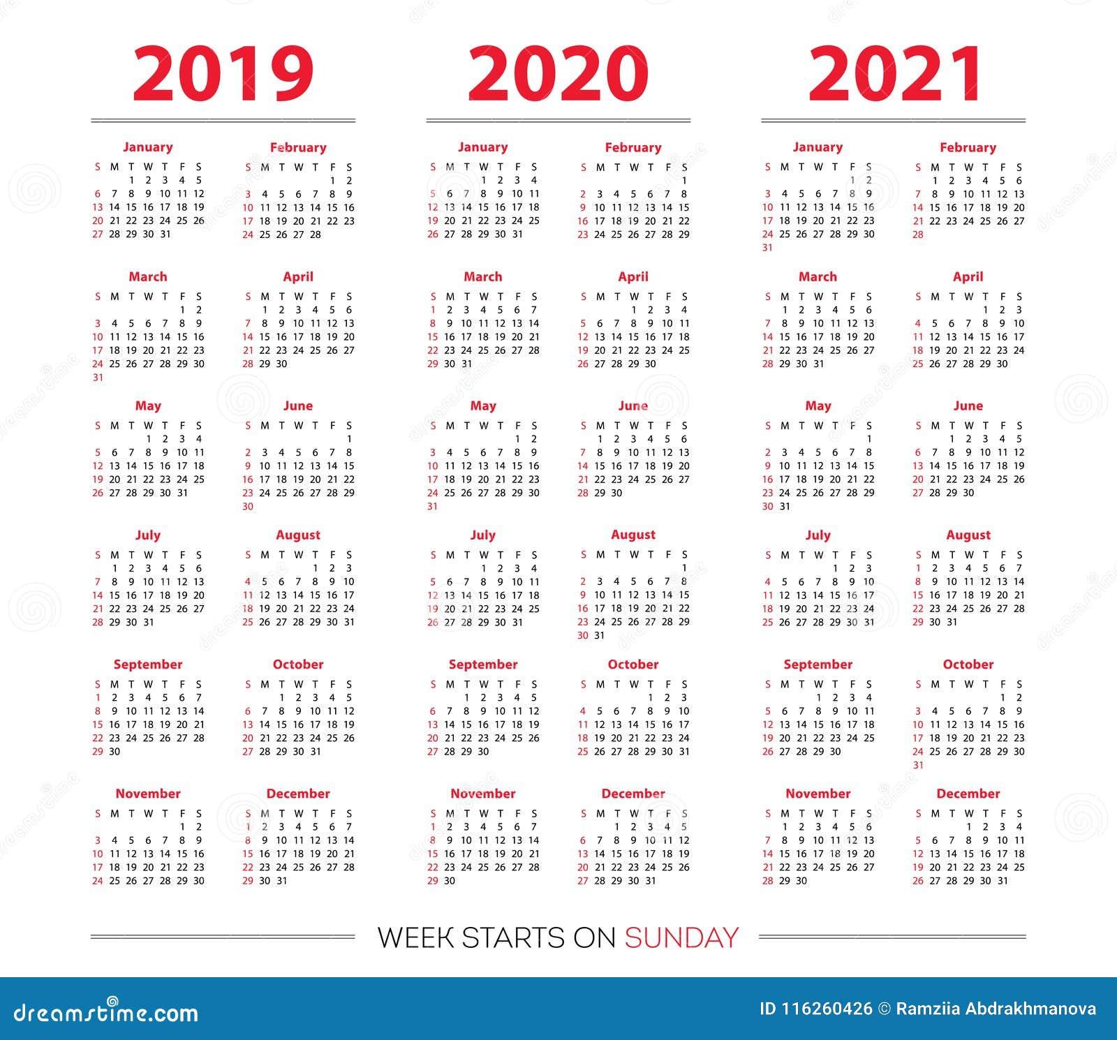Calendar 2019, 2020 And 2021 Set. Week Starts On Sunday. Basic Grid ...
