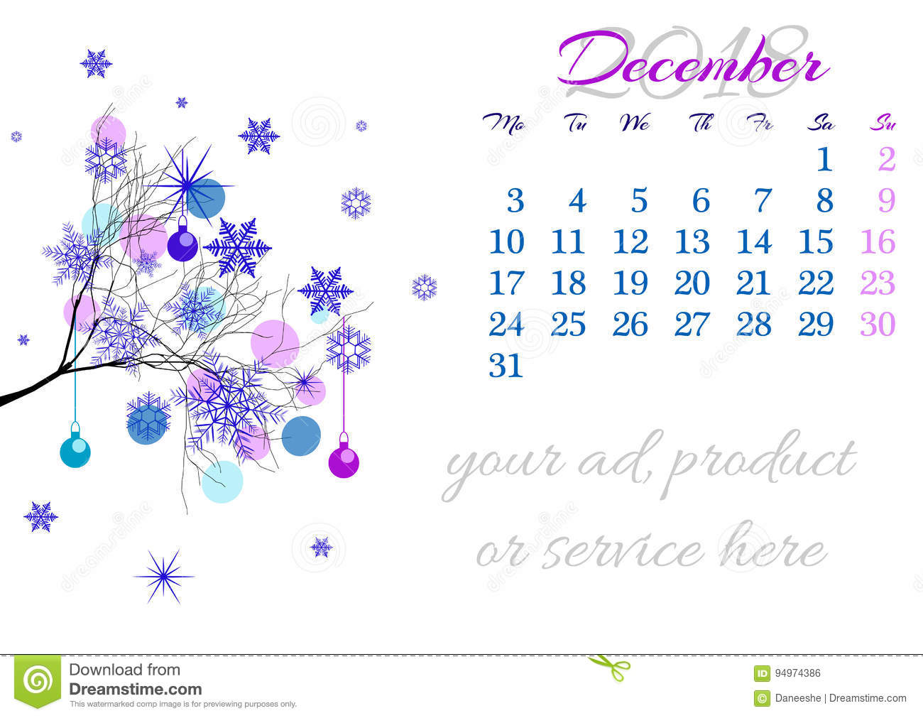 Calendar sheet for 2018 December with tree branch