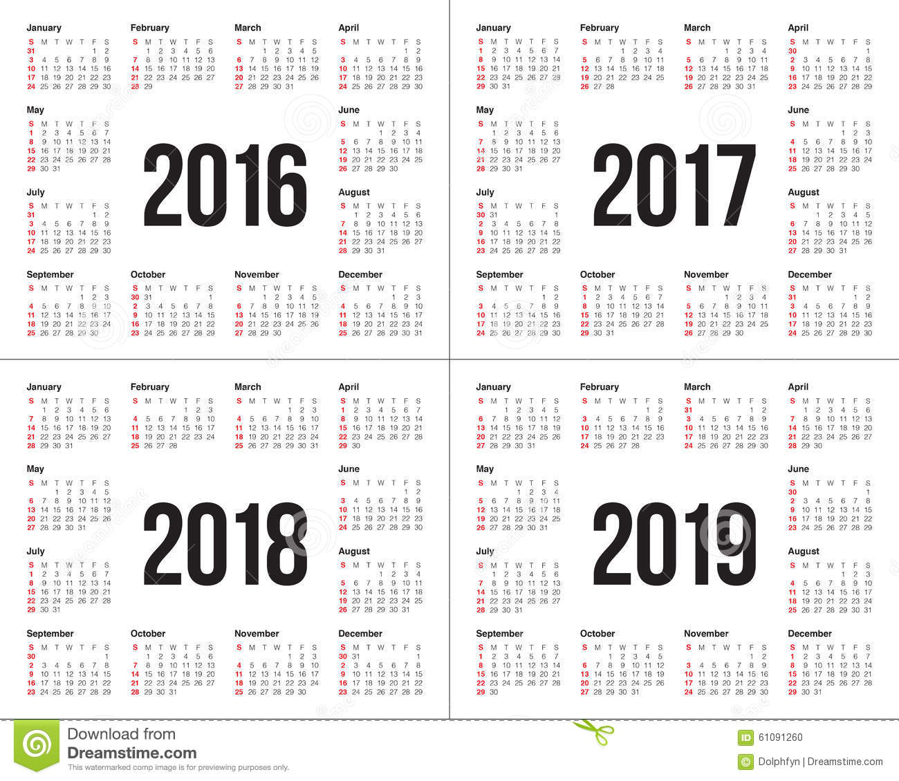 2019 And 2016 Calendars Calendar 2016 2017 2018 2019 Stock Vector   Illustration of 2016