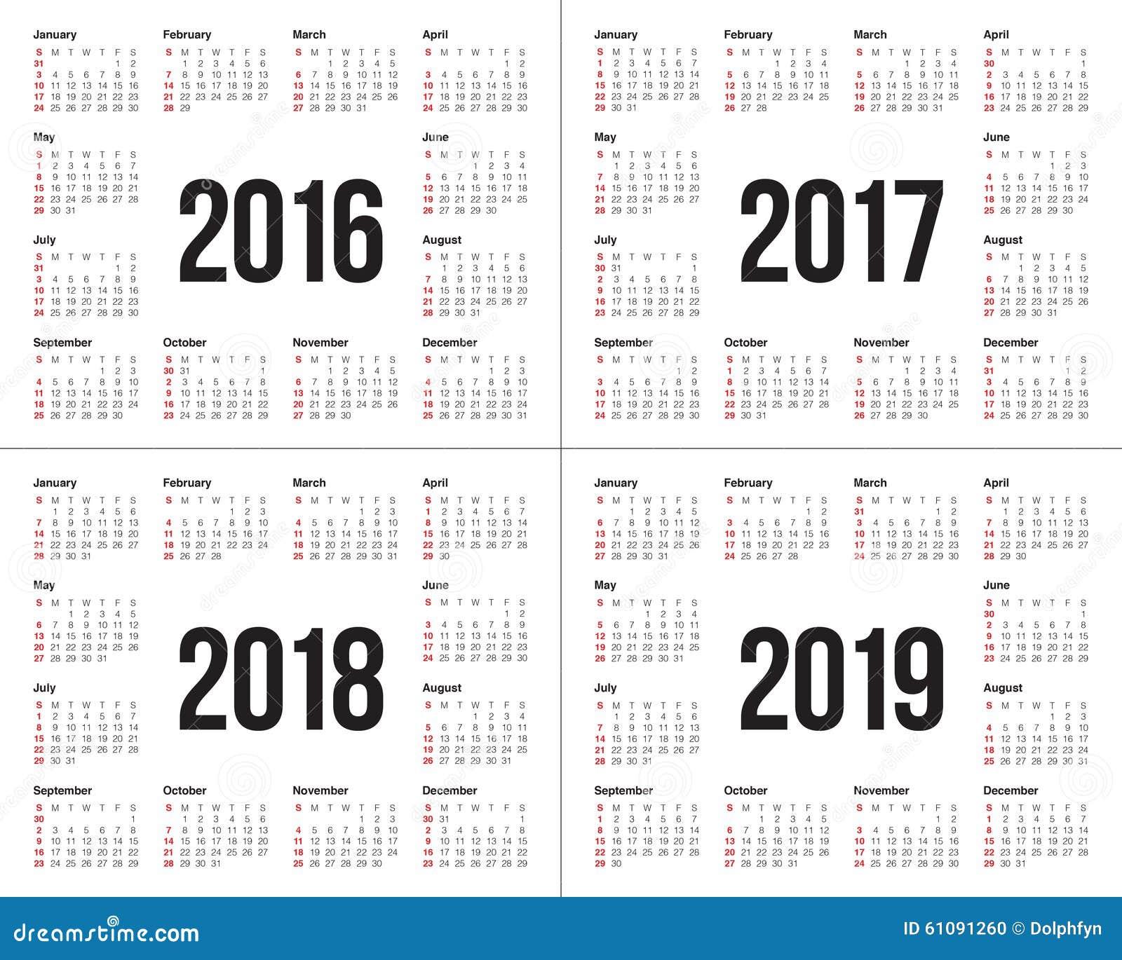 Calendar 2016 2017 2018 2019 Stock Vector - Image: 61091260