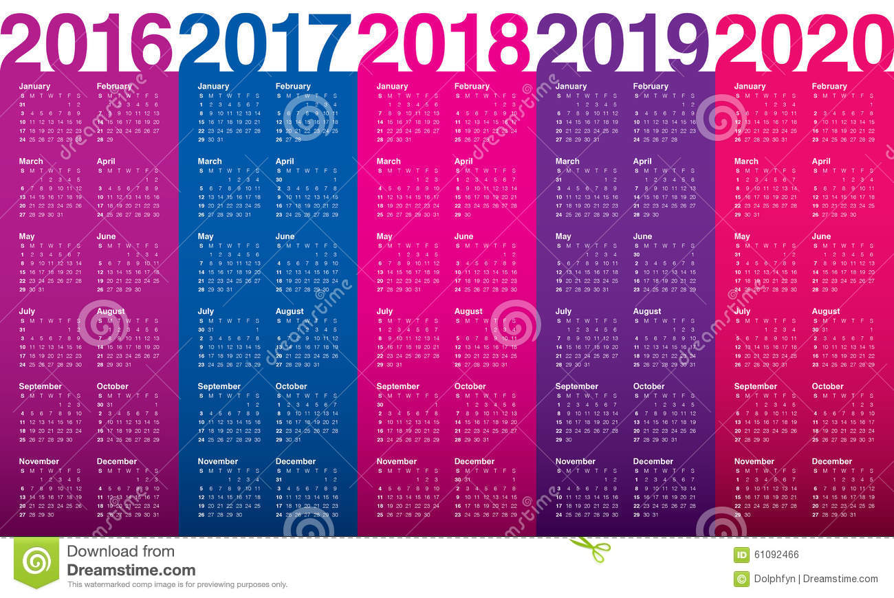 2016-2020 Monthly Calendar Calendar 2016 2017 2018 2019 2020 Stock Vector   Illustration of