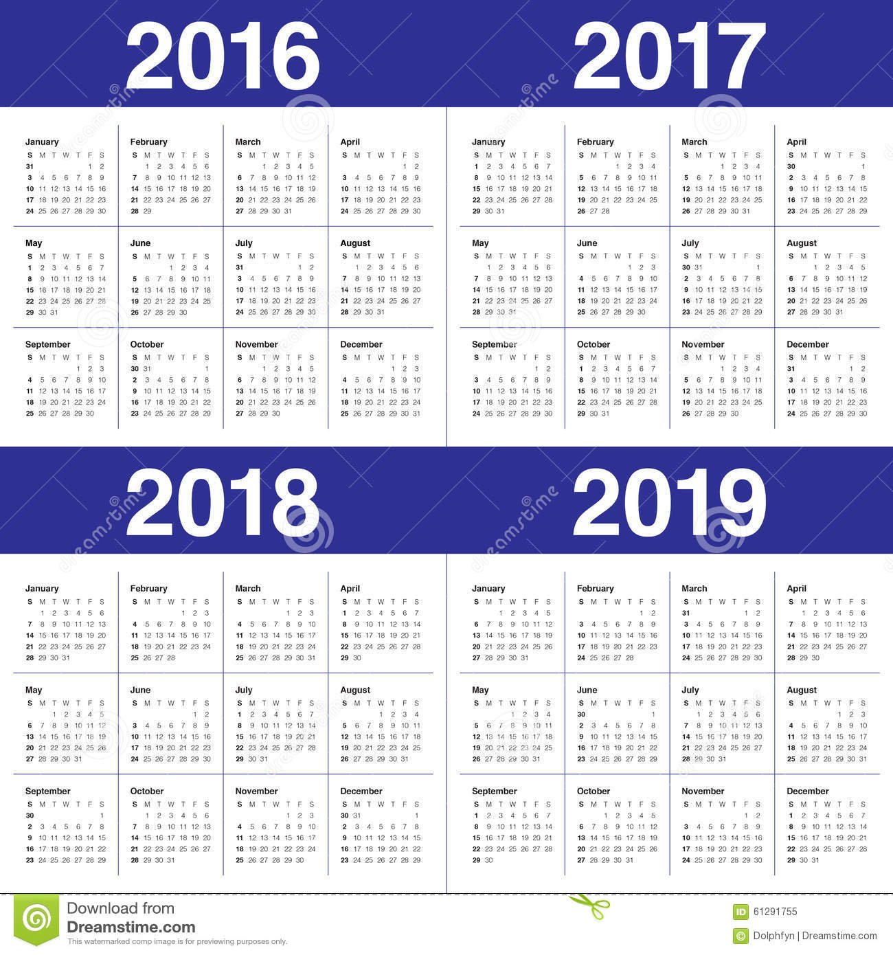 2019 2016 2019 Calendar Calendar 2016 2017 2018 2019 Stock Vector   Illustration of simple