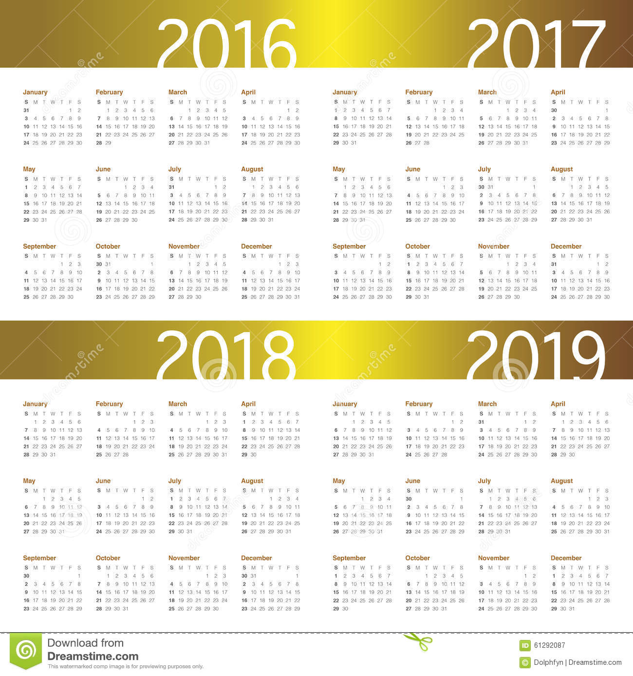 2019: Calendar For 2018 And 2019 Royalty-Free Stock Photography