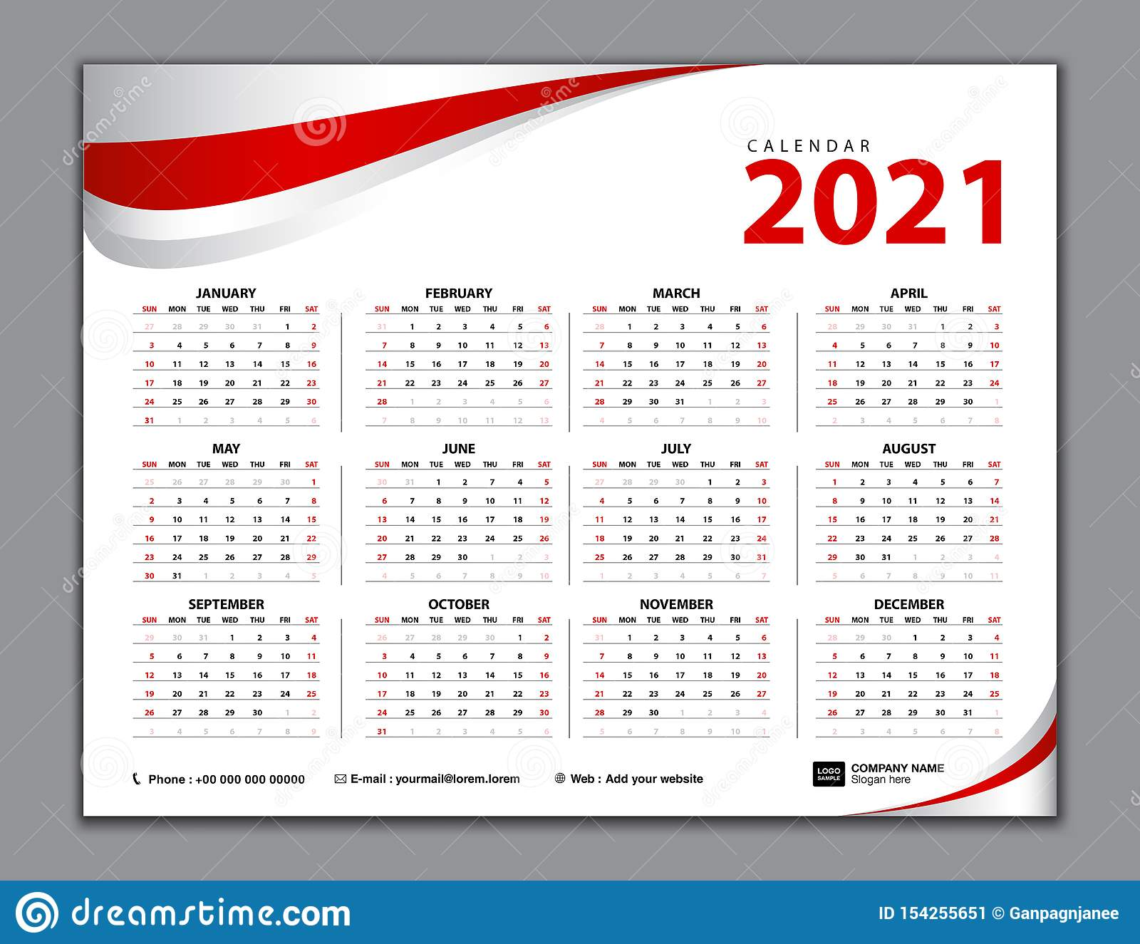 Calendar 2021, Simple Calendar, Desk, Week Starts From Sunday. Set