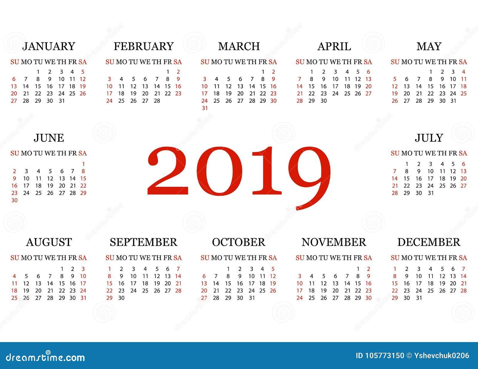 Calendario Vector Blanco.Calendar 2019 Simple Calendar Template For Year 2019 White