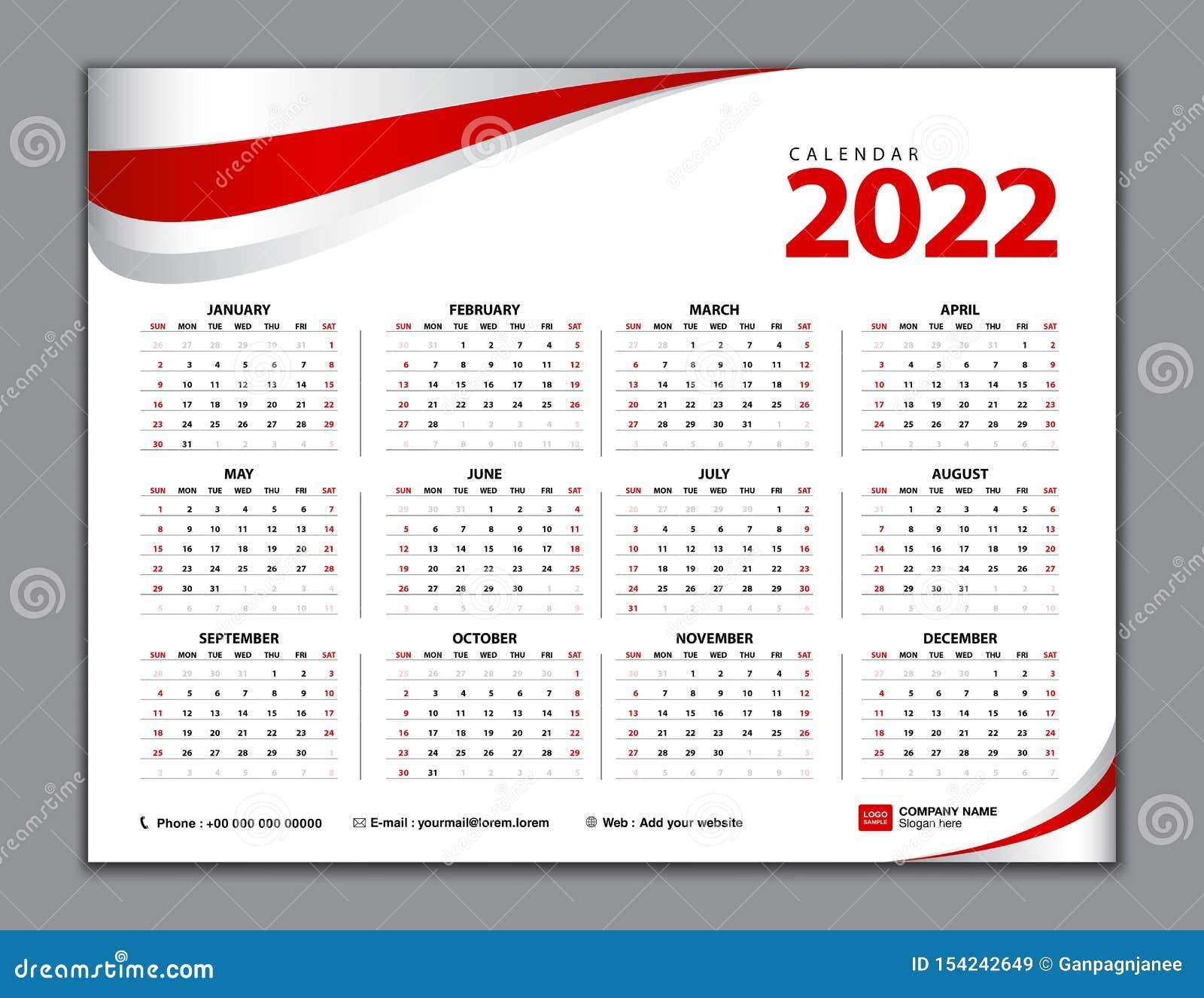 Calendar 2022 Simple Calendar Desk Week Starts From Sunday Set Of 12 Months Vector Template Stock Vector Illustration Of Office Organizer 154242649