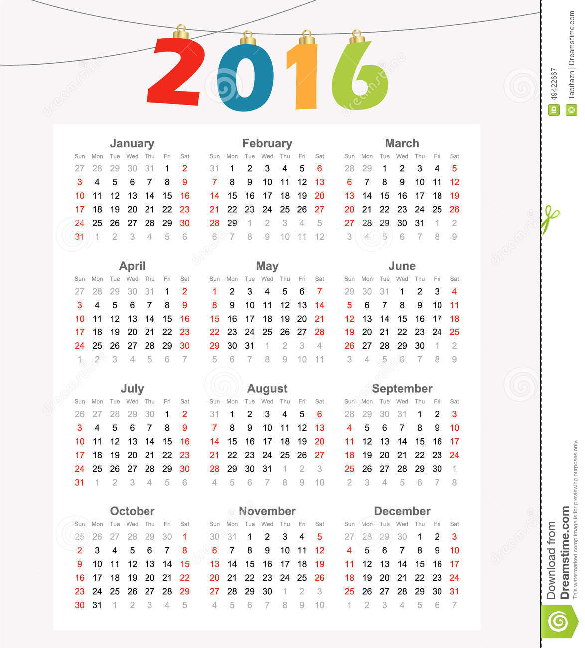 Illustration Calendar Design : Calendar simple modern design illustration stock