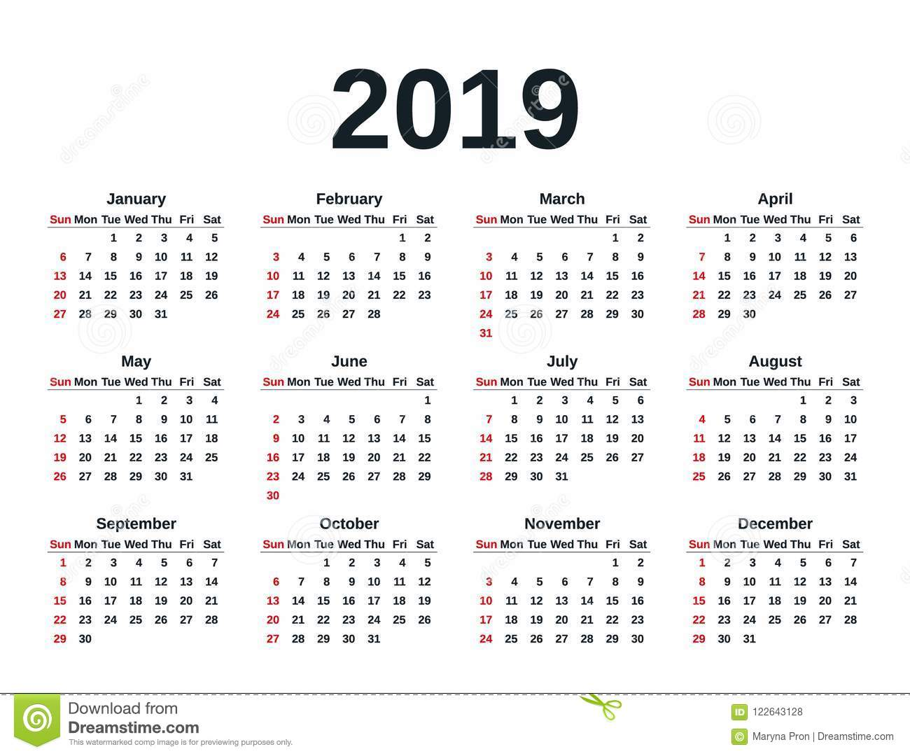 Weeks Of The Year Calendar 2019 2019 Calendar Year. Vector Illustration. Template Planner. Stock