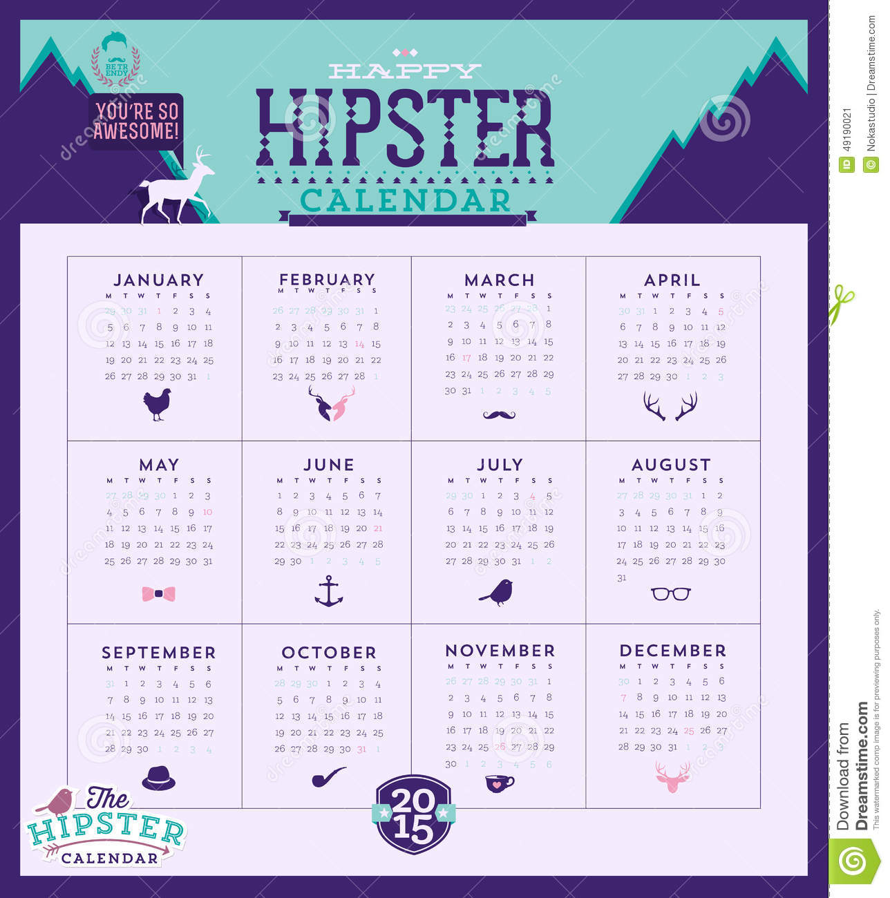 Calendar Typography Map : Calendar stock illustration image
