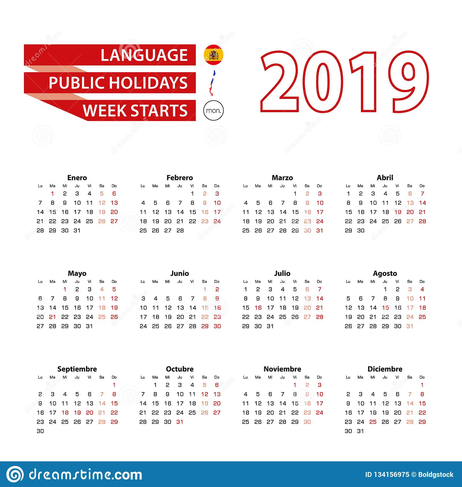 Calendario 2020 Chile Vector.Calendar 2019 In Spanish Language With Public Holidays The