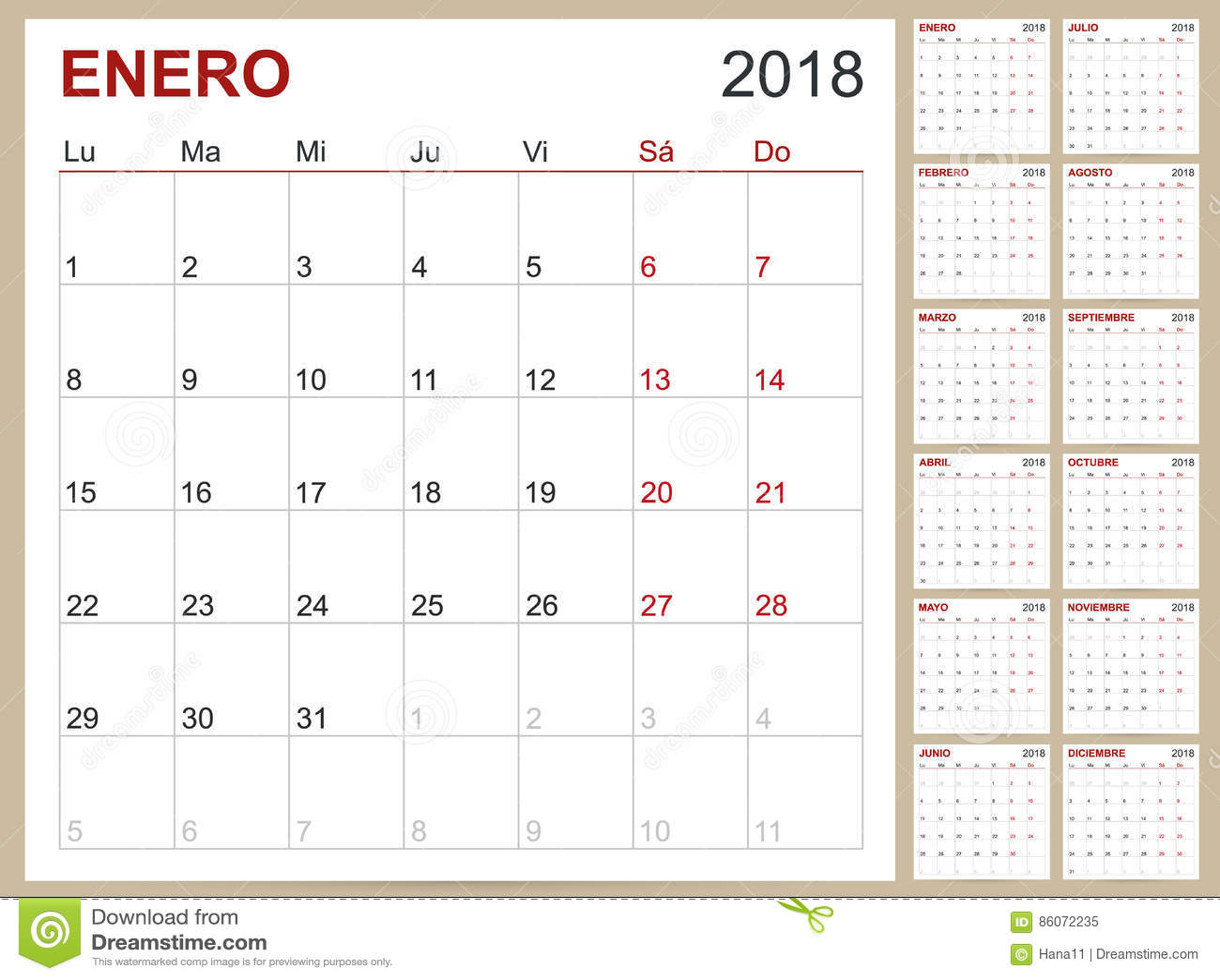 Calendar 2018 Stock Vector Illustration Of 2018 Company