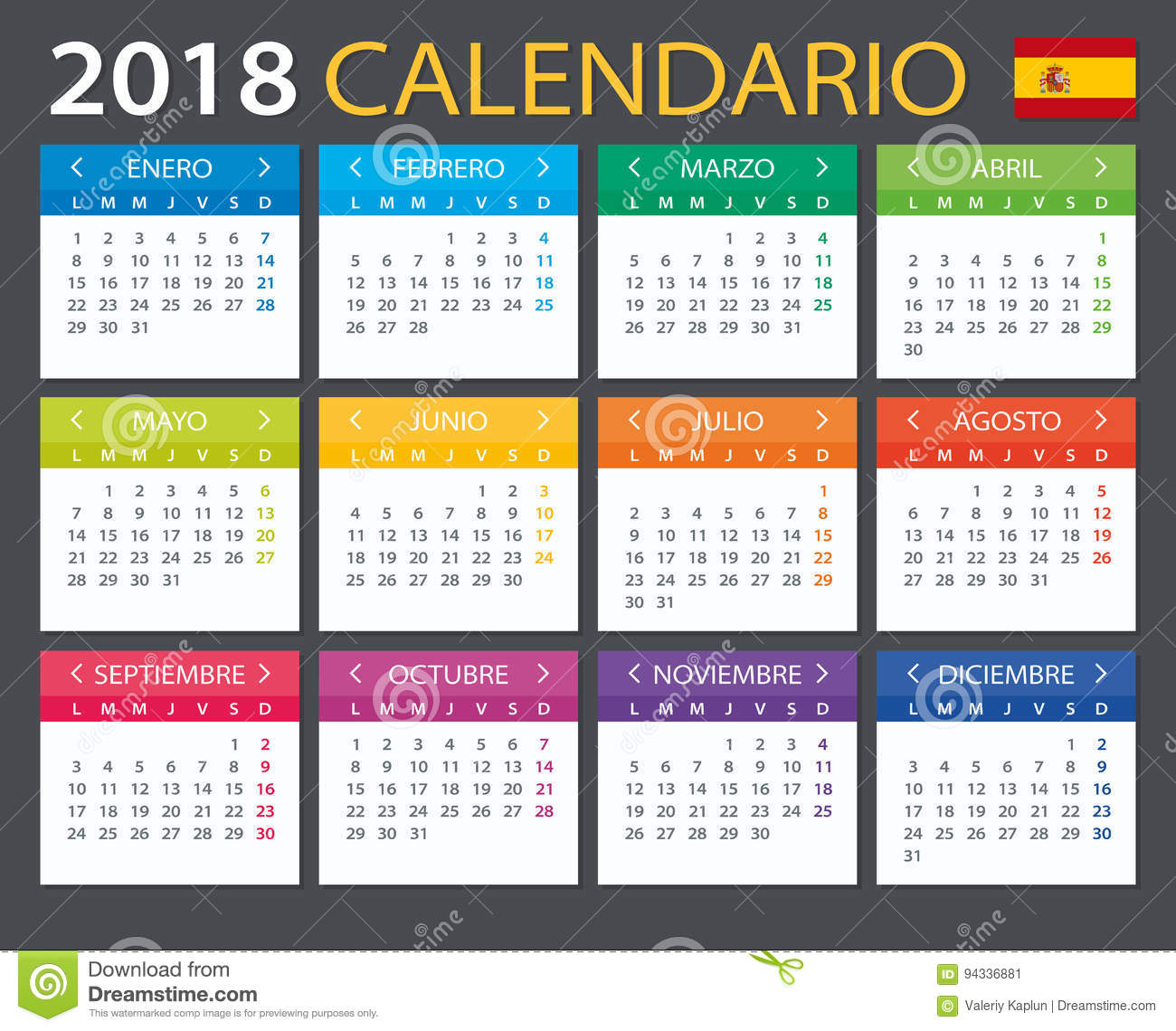 calendar 2018 spanish version