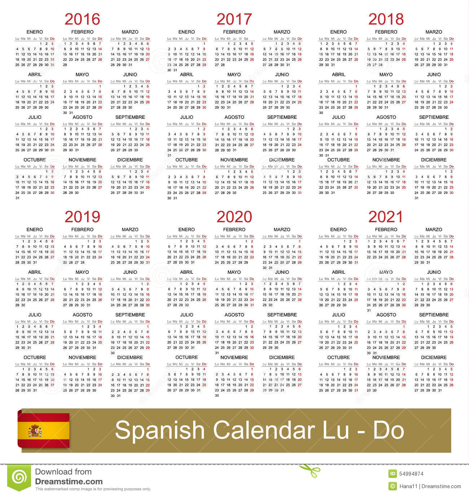 Calendar 2016 2021 Illustration 54994874   Megapixl