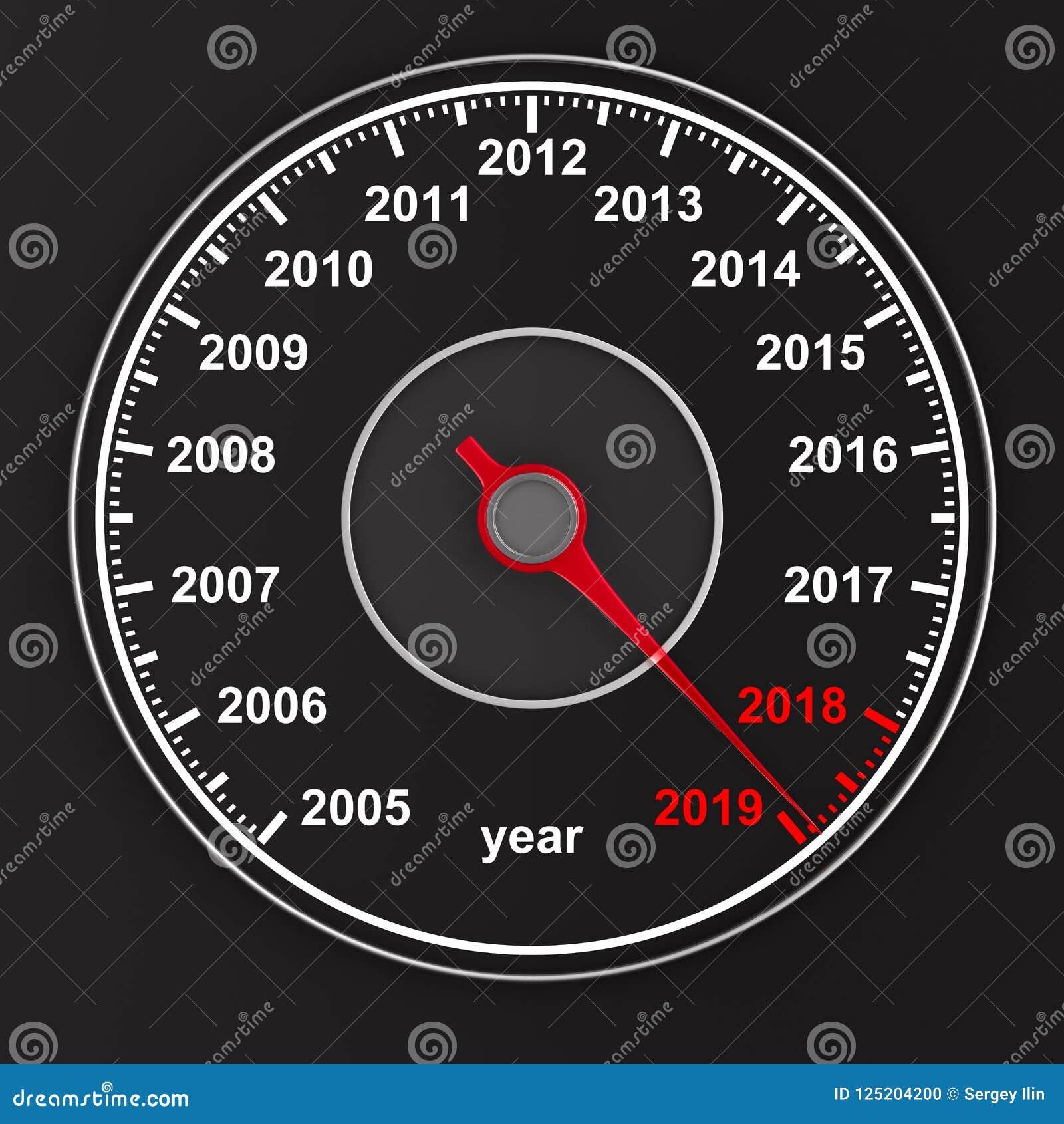 Calendar From Speedometer On Black Background. 3D ...