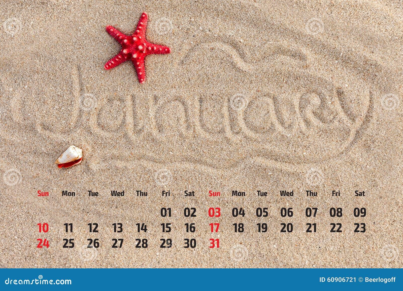 ... calendar with starfish and seashells on sand beach. January 2016
