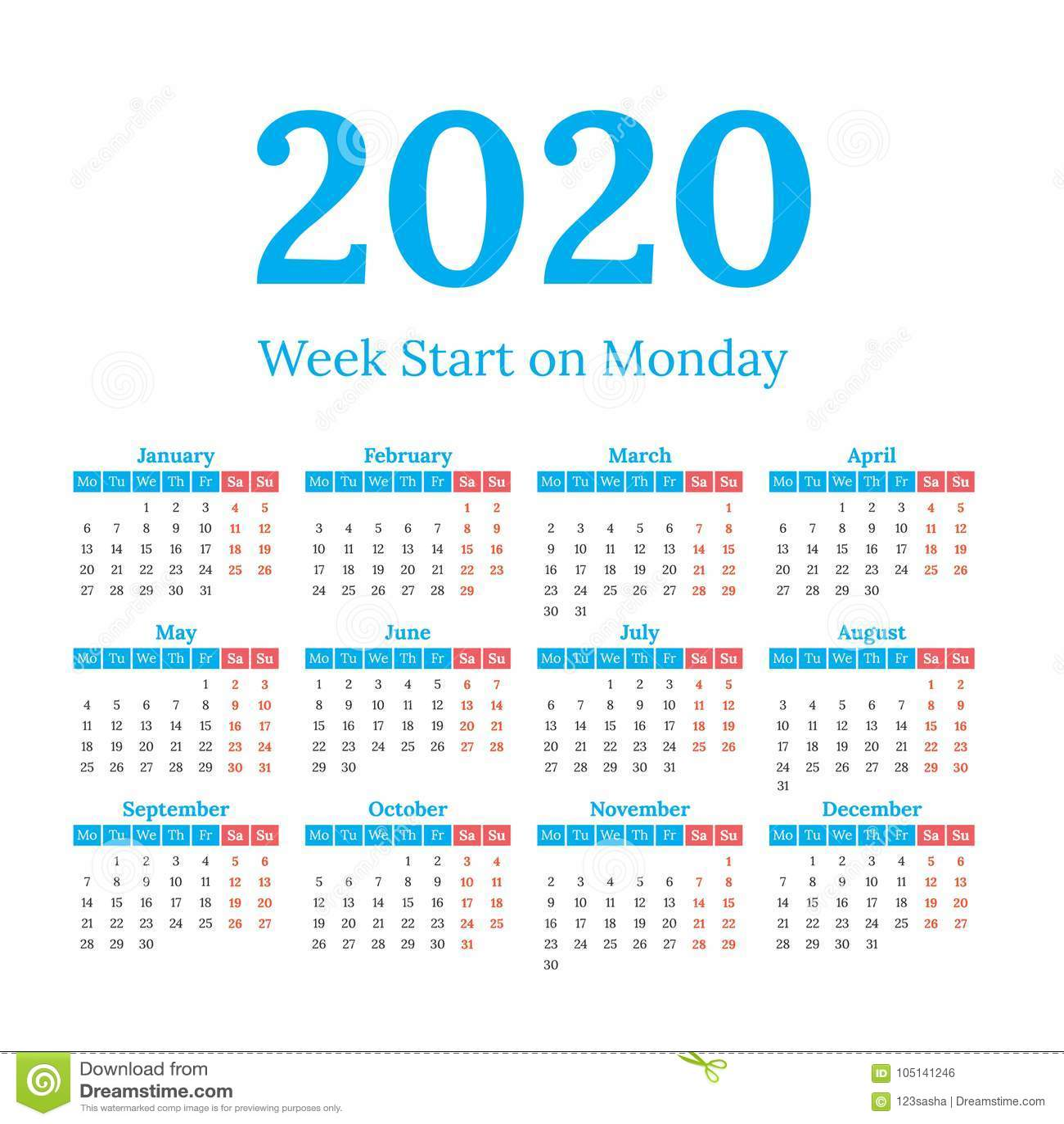 5 Year Calendar Starting 2020 2020 Calendar Start On Monday Stock Vector   Illustration of