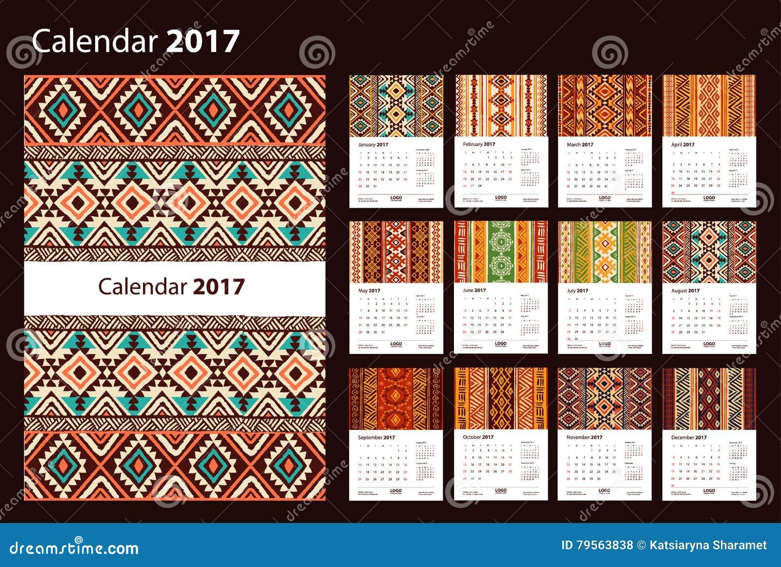 Calendar 2017 starting from Sunday. Ethnic geometric pattern.