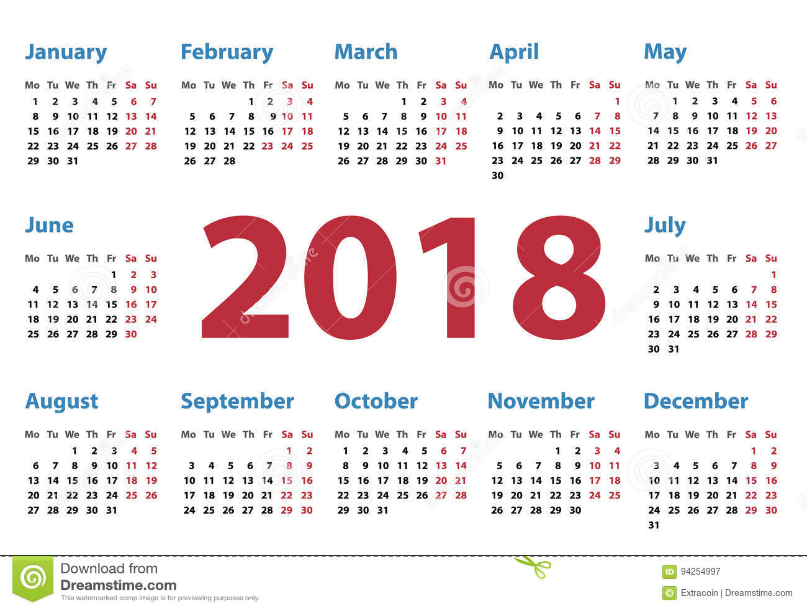 Calendar Typography Year : Calendar for starts monday vector design