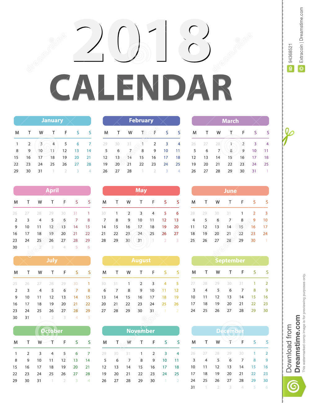 2018 year calendar calendar design 2018 starts monday