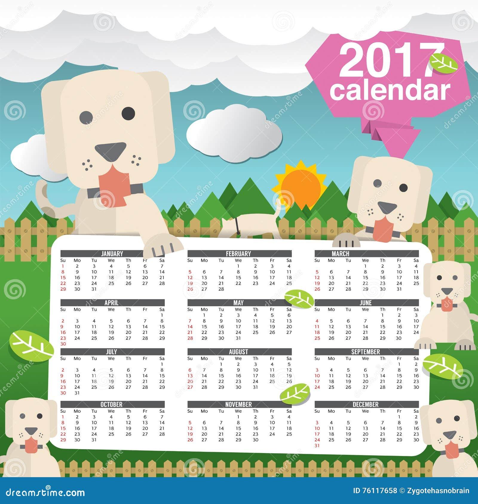 Cute Calendar Illustration : Calendar starts sunday cute dogs in backyard stock