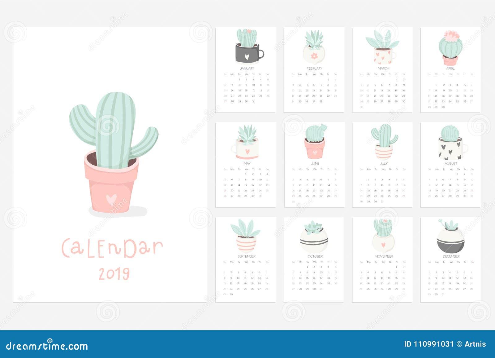 Fun 2019 Calendar Calendar 2019. Fun And Cute Calendar With Hand Drawn Succulents