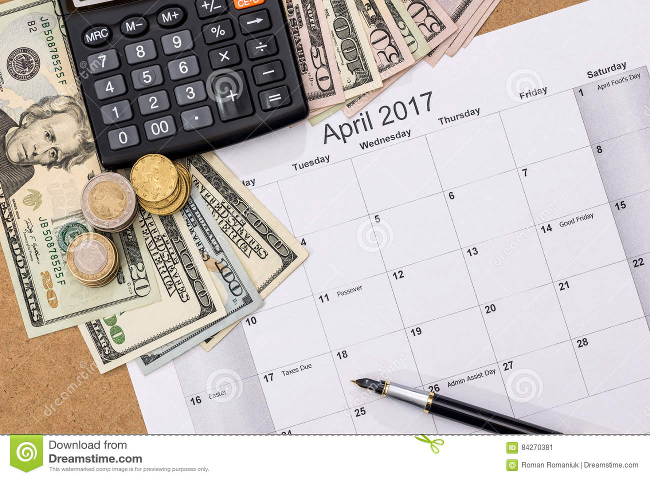 Money calculator coins us dollar banknote stock photo (edit now.