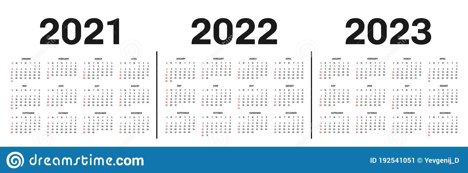 Calendar 2022 2023.Calendar 2021 2022 And 2023 Template Calendar Template In Black And White Colors Holidays In Red Colors Stock Vector Illustration Of December Background 192541051