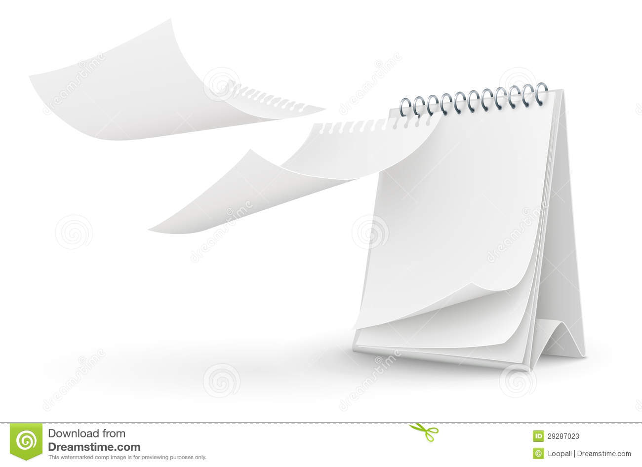 Calendar template with blank page vector illustration on white ...