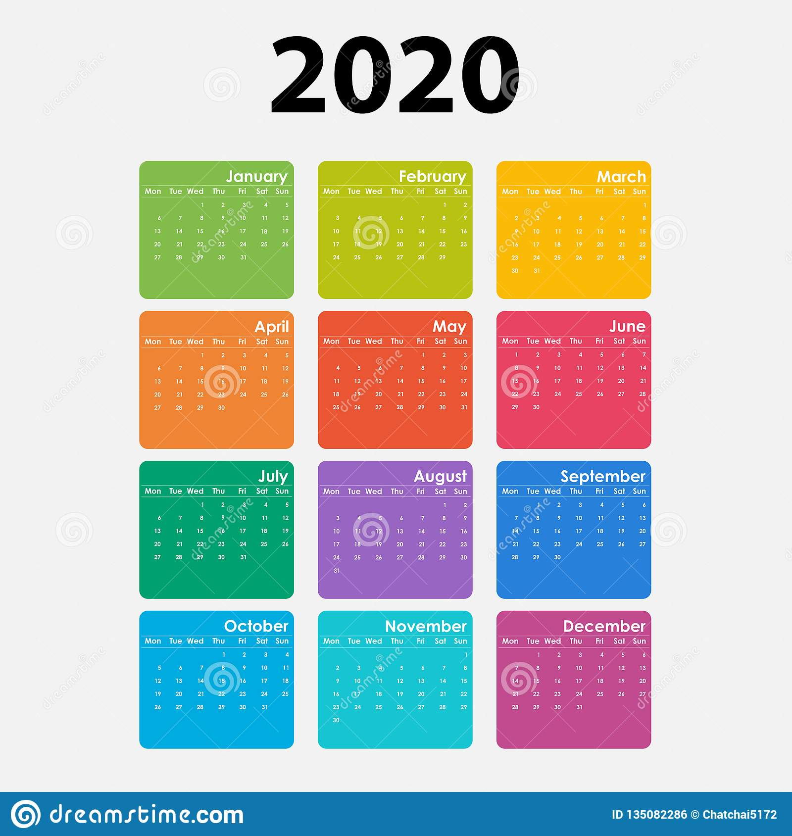 Poster Calendario 2020.2020 Calendar Template Calendar 2020 Set Of 12 Months Yearly