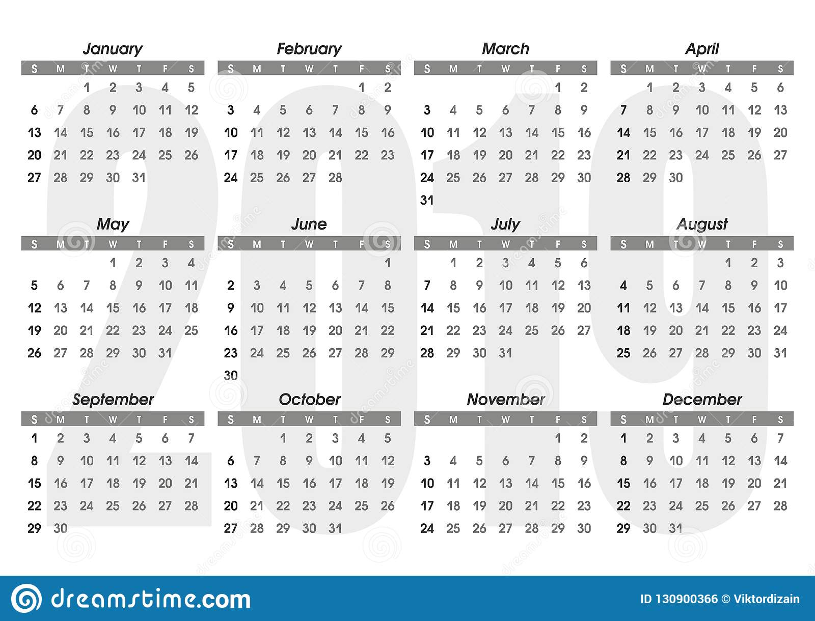 Template Calendrier 2019.Calendar 2019 Template Stock Vector Illustration Of Graphic