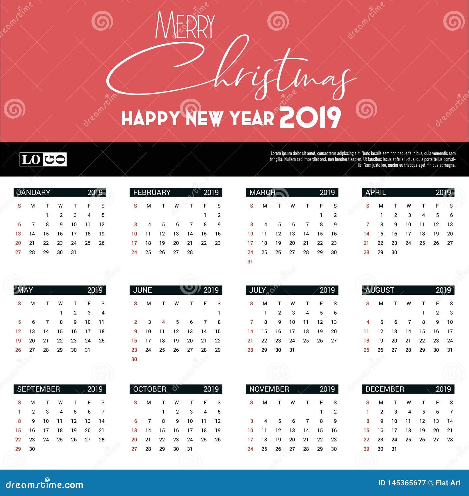 Christmas 2019 Calendar.2019 Calendar Template Christmas And Happy New Year