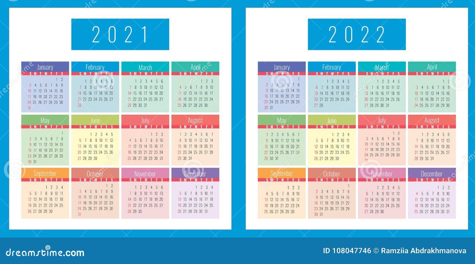 Calendar Template 2021 And 2022 Stock Illustration   Illustration