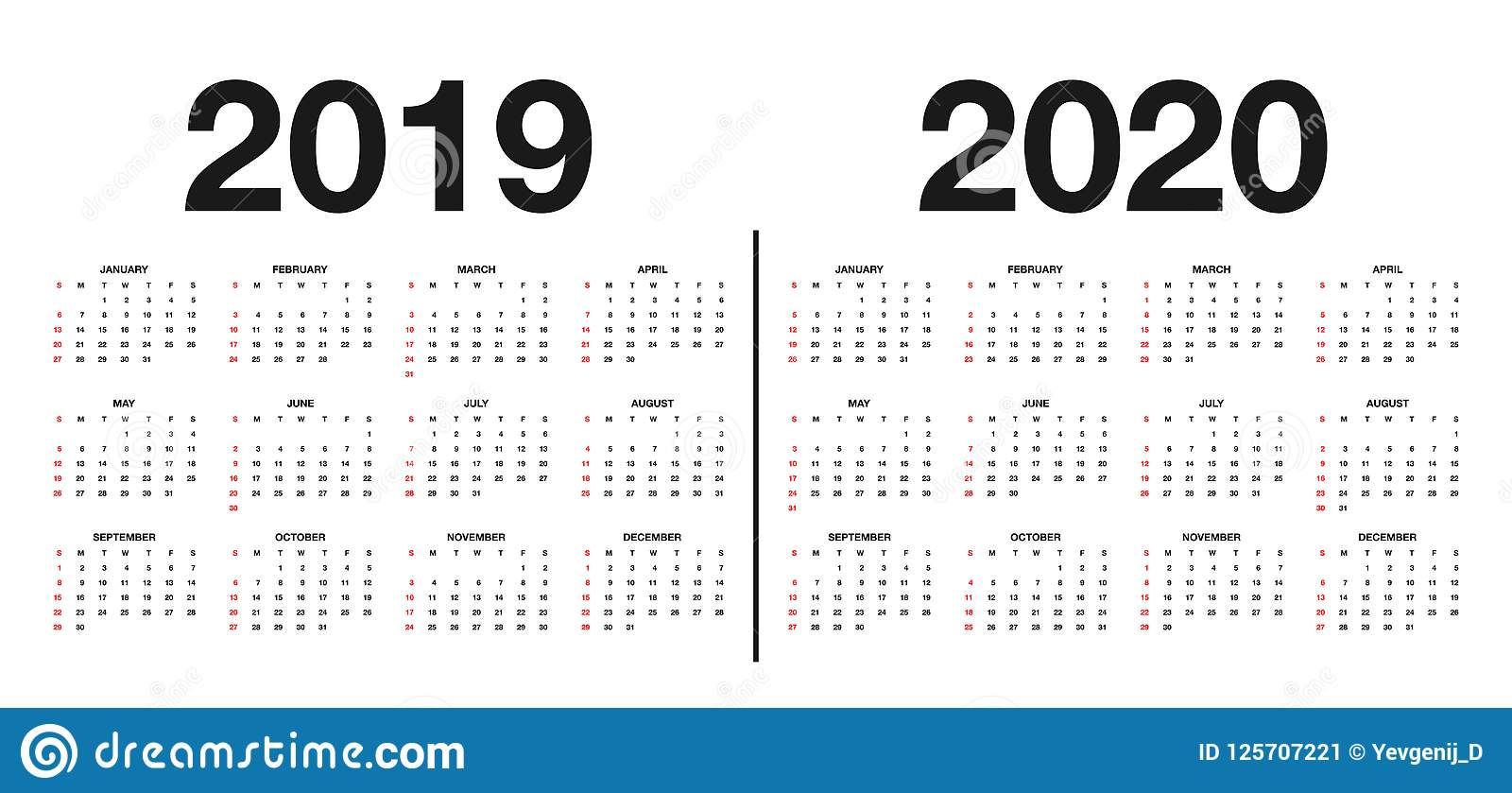Calendar 2019 And 2020 Template Calendar Design In Black And White