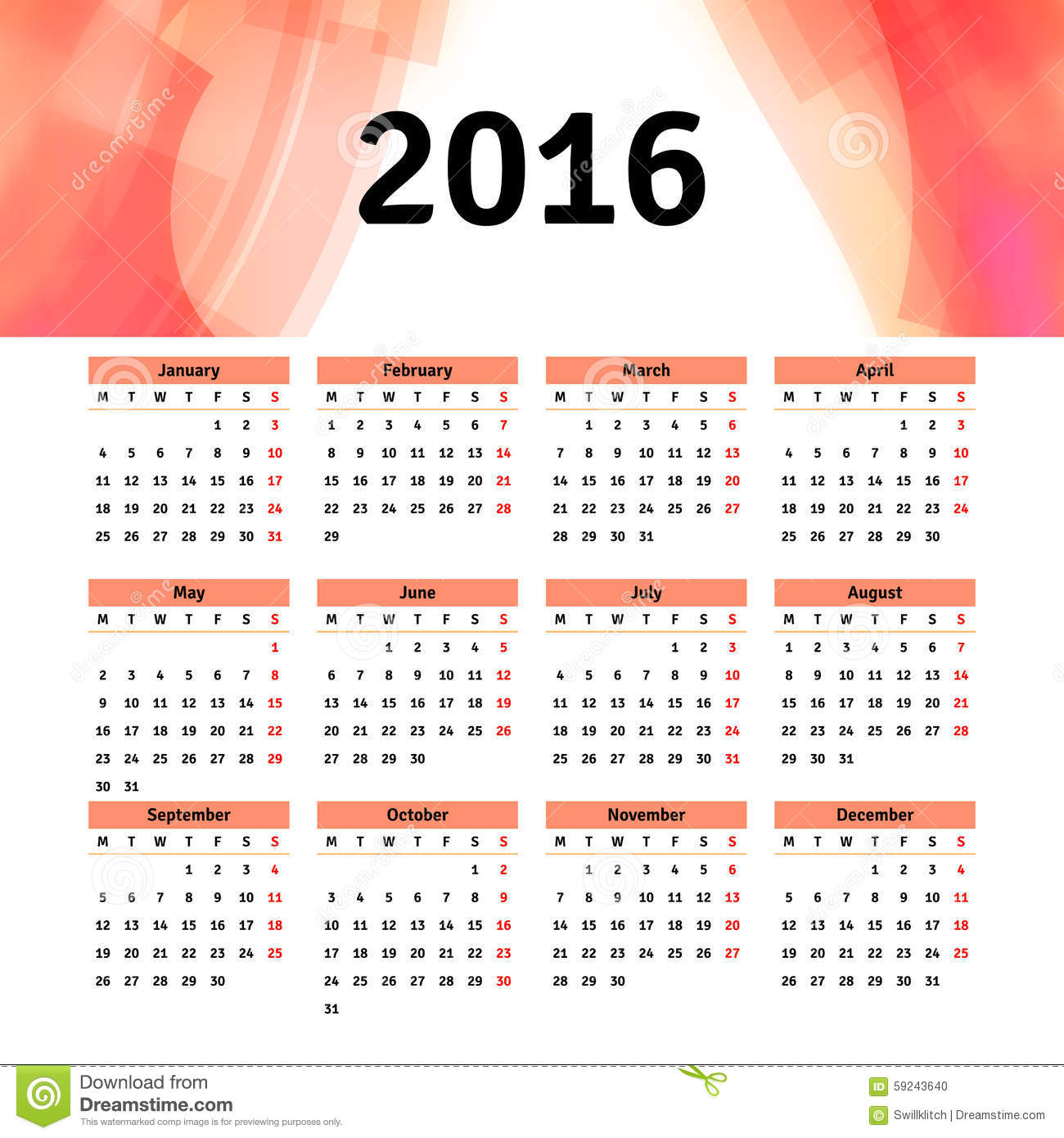 calendar 2016 template design with header picture stock