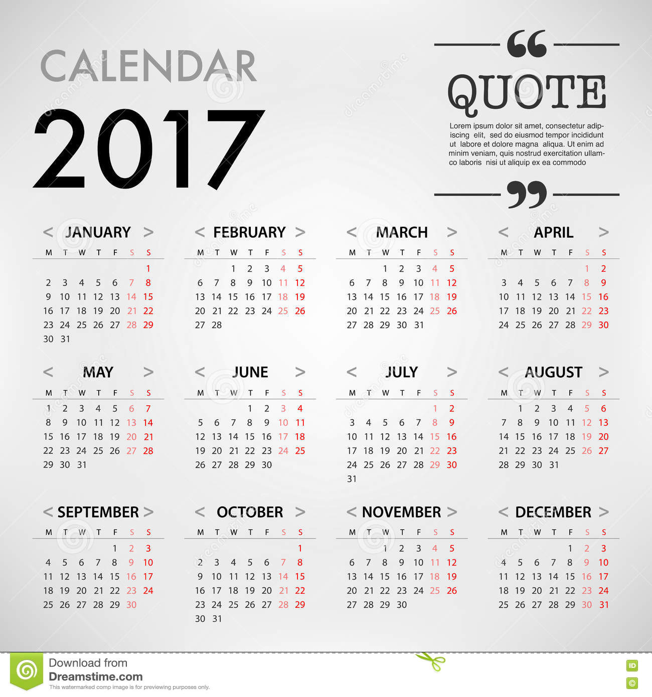 Calendar Organization Quotes : Calendar for template design on white background