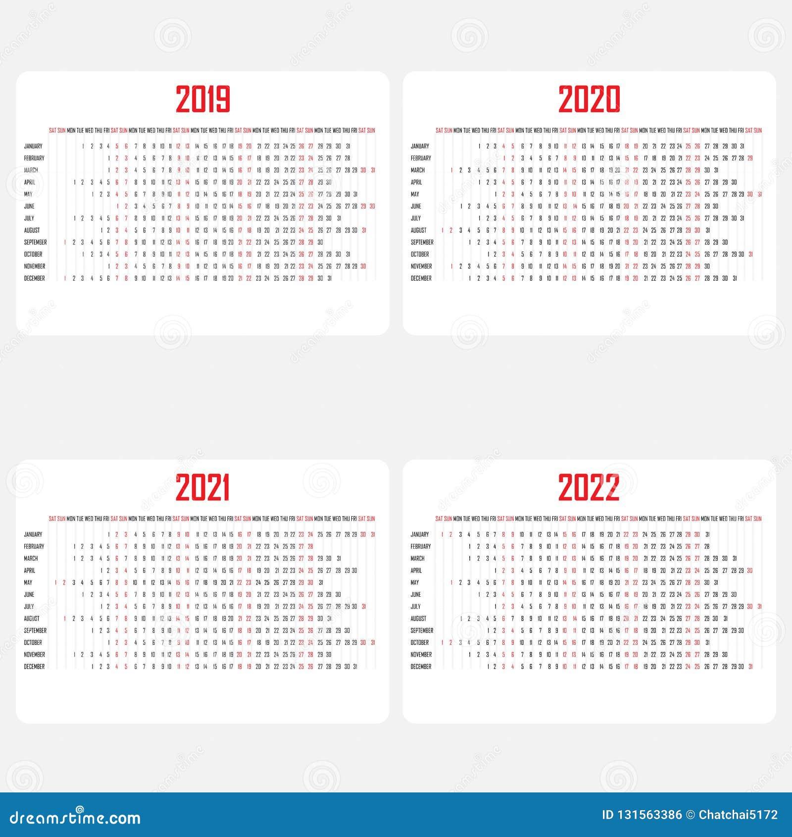 Calendar 2019 2020 2021 2022 Template Calendar Design Yearly