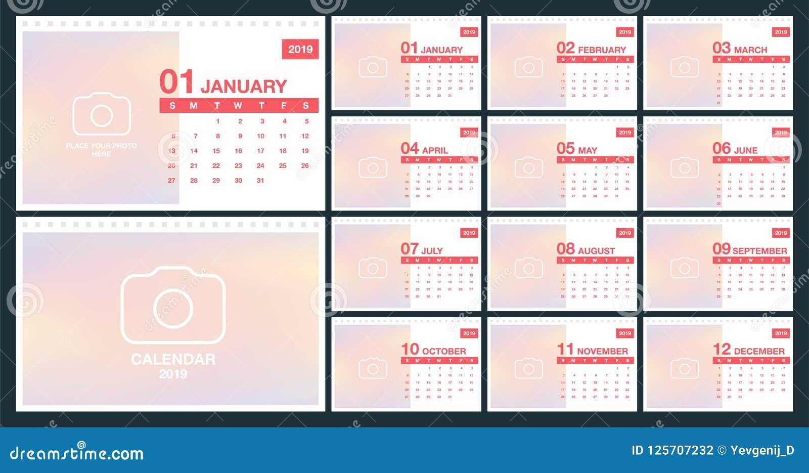 Calendar 2019 Template Desk Calendar Template Set Of 12 Months