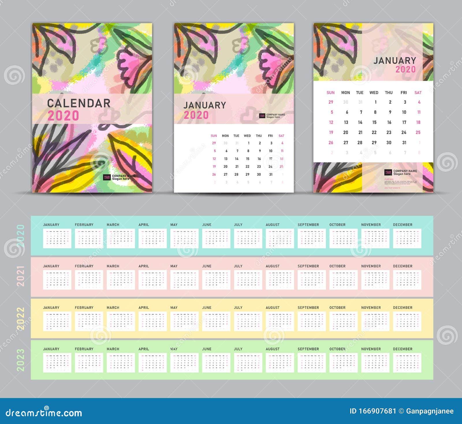 2022 Calendar Cover.Calendar 2020 2021 2022 2023 Template Desk Calendar 2020 Vector Cover Design On Flower Painting Background Set Of 12 Months Stock Vector Illustration Of Brochure Media 166907681