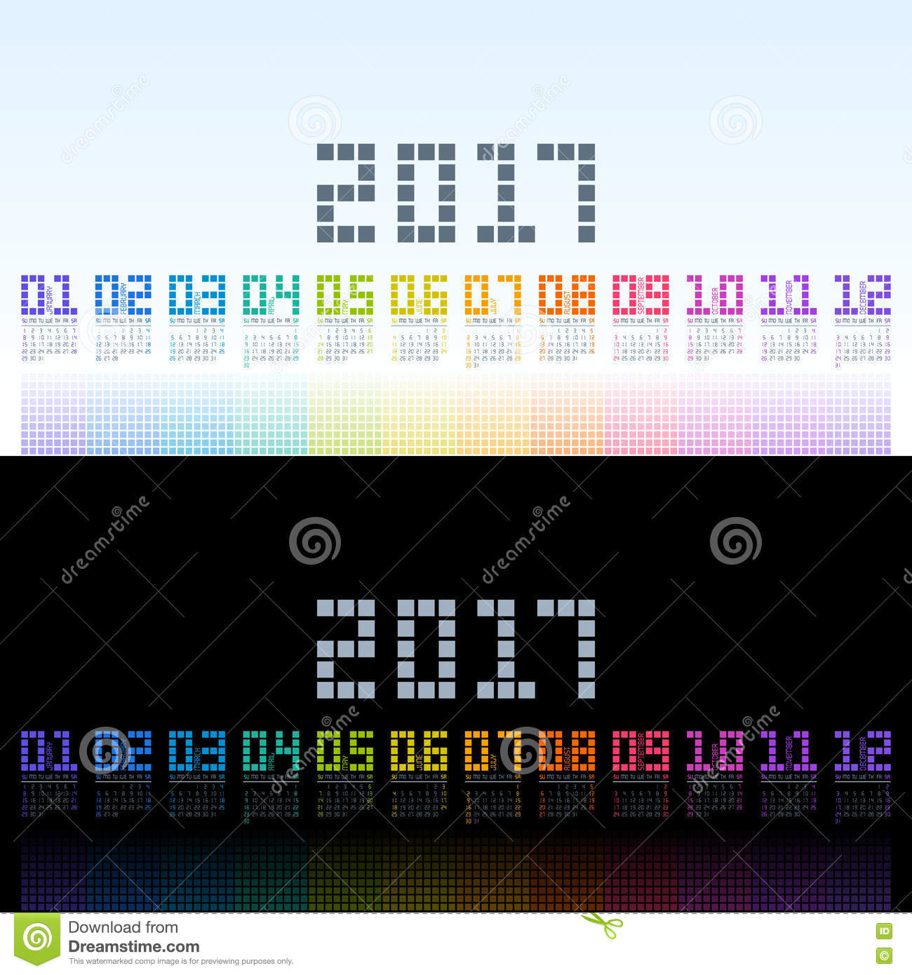 Calendar 2017 Template With Digital Colorful Shining Stock Vector ...