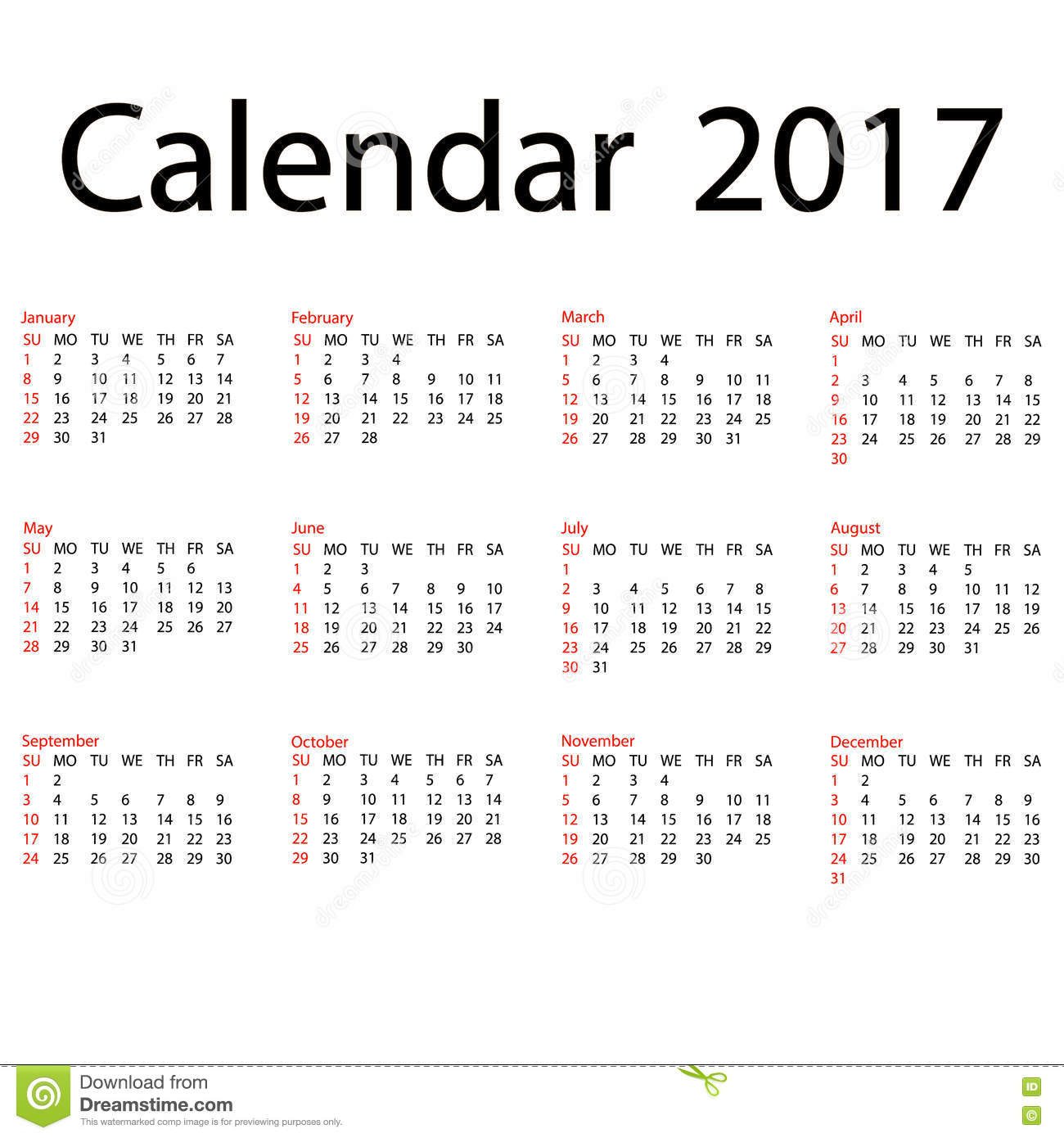 2017 Calendar Template First Day Sunday Illustration In
