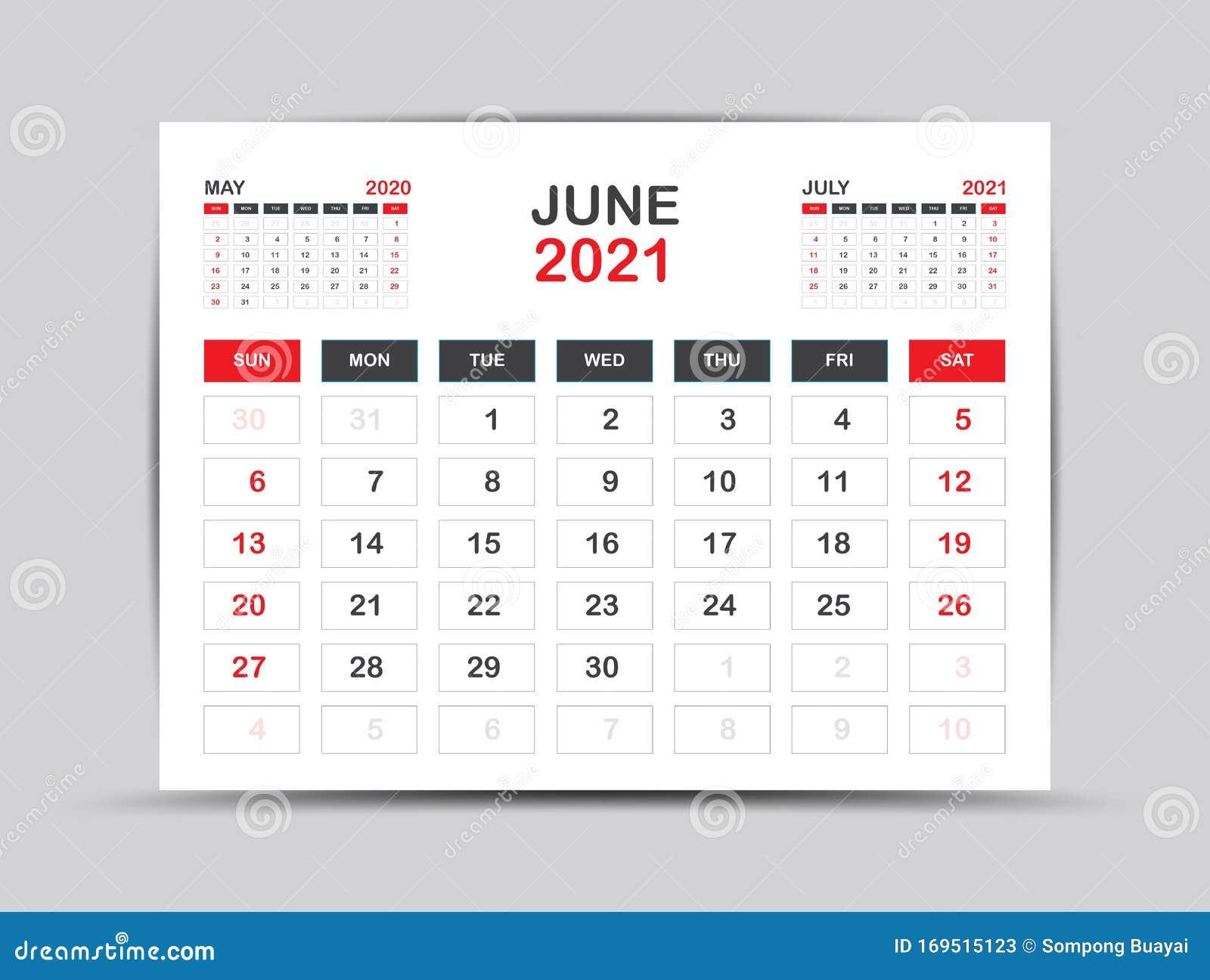 Calendar 2021 Template. June Page Vector For Calendar 2021 ...