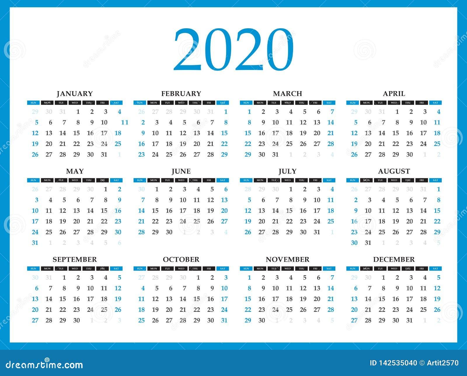 Calendar 2020 Template Layout, Blue Concept, Business Brochure Flyer