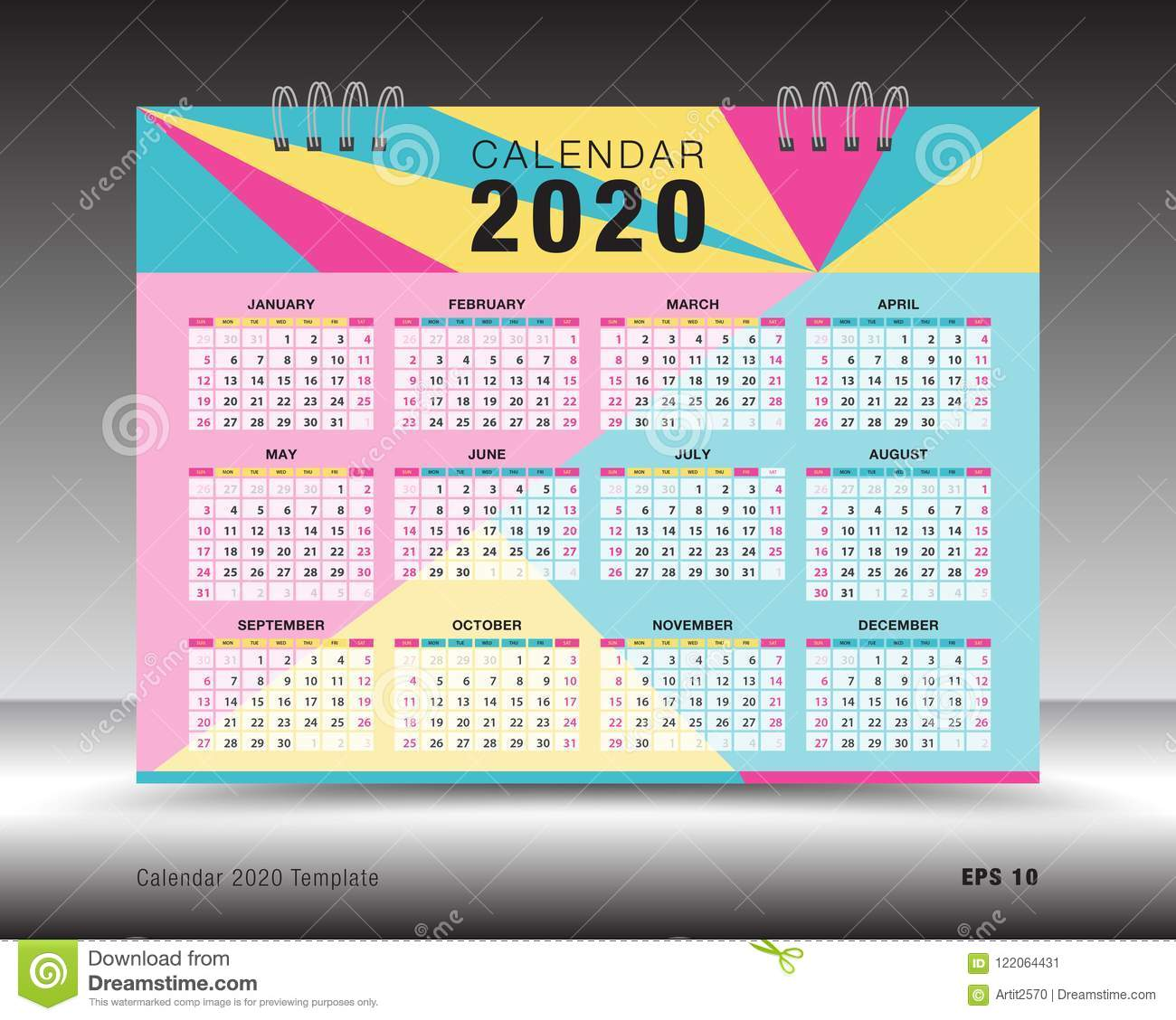 Calendar 2020 Template Layout, Colorful Business Brochure Flyer