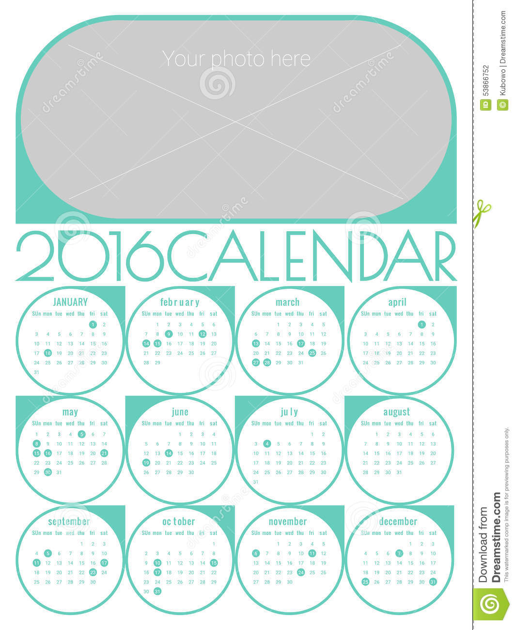 Calendar 2016 Template Stock Vector - Image: 53866752