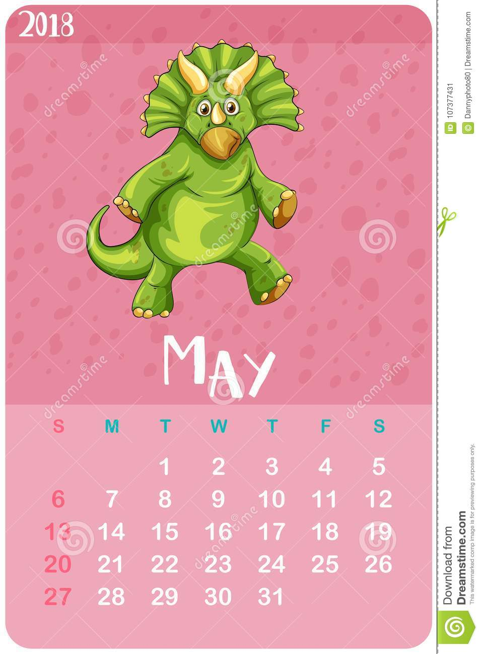 calendar template for may with triceratops stock vector