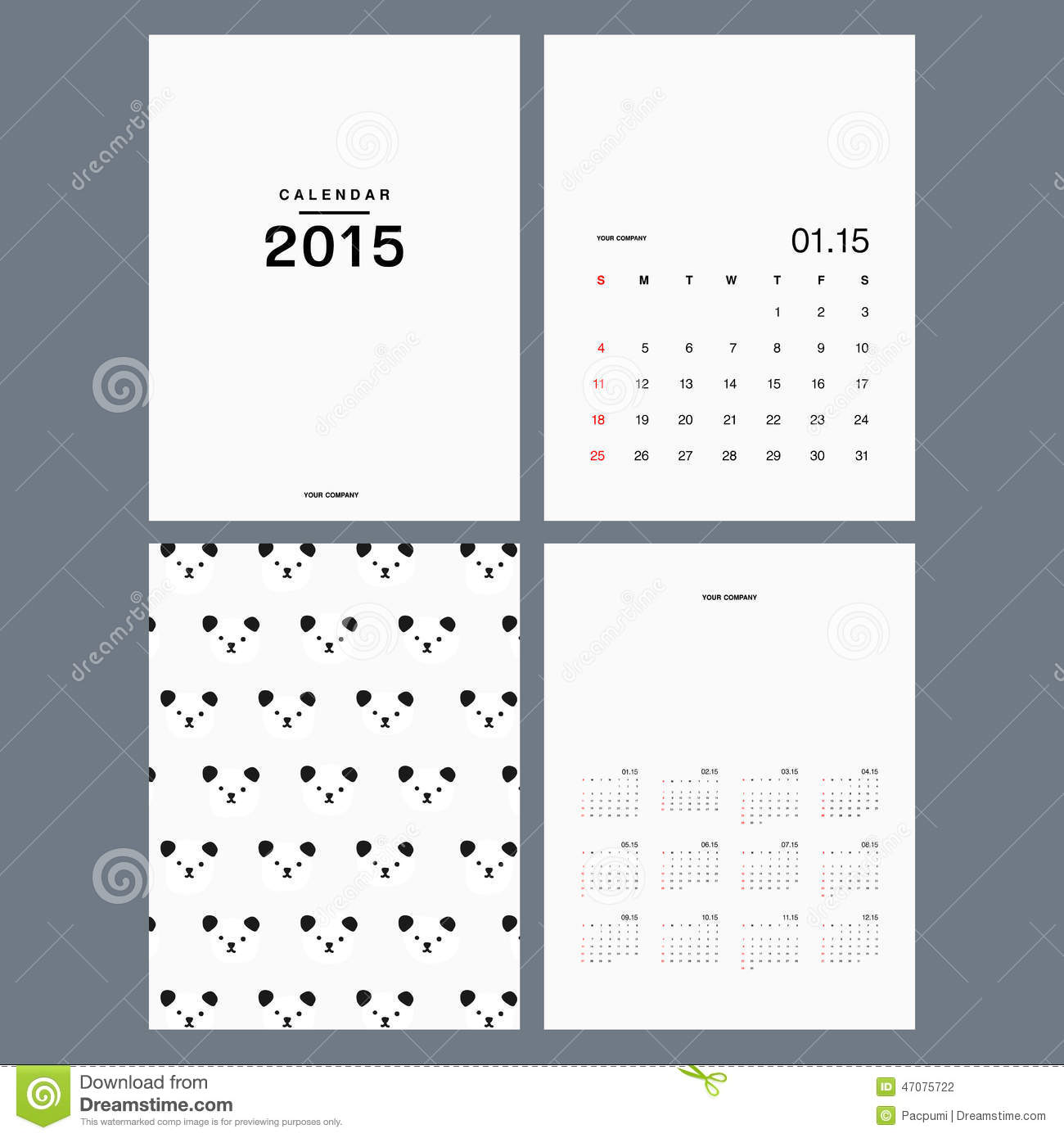Calendar Design Minimal : Calendar template stock illustration of